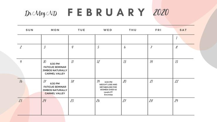dr meg nd February calendar
